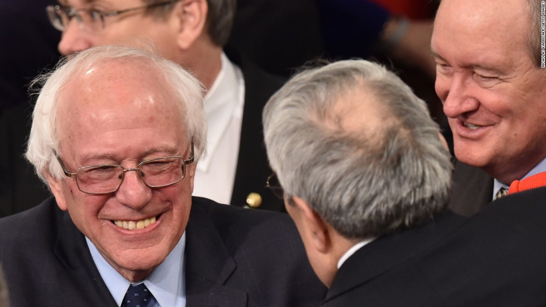 Democratic  presidential candidate Bernie Sanders arrives prior to the speech.