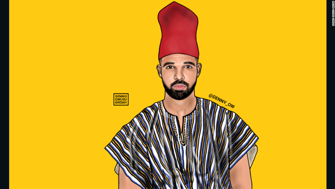 By illustrating artists in African clothing, Owusu-Ansah hopes that it will bring awareness to African culture. Here he captures Drake, or in this case, Aubrey Drake Abdul-Salam Graham.
