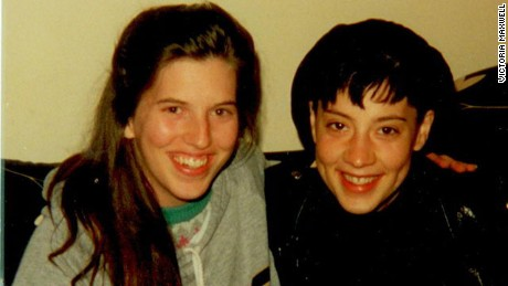 Victoria Maxwell, on left, with friend in 1991 two months before her first psychosis
