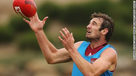 Jobe Watson of the Bombers marks the ball during an Essendon Bombers AFL pre-season training session at True Value Solar Centre on January 8, 2016 in Melbourne, Australia. He has since been banned until the end of the upcoming season.