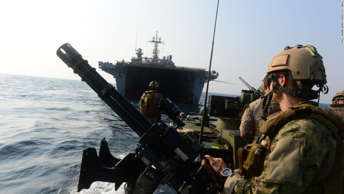 Sailors patrol the Persian Gulf in October 2012.