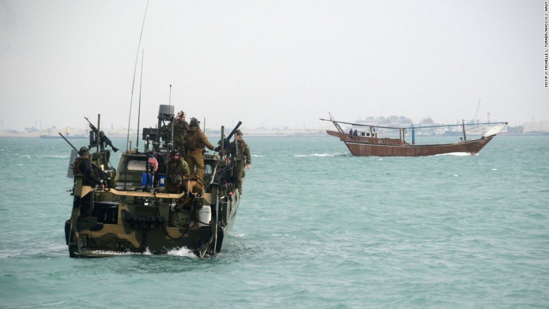 Sailors travel the Persian Gulf in a riverine command boat during a training exercise in January 2014.