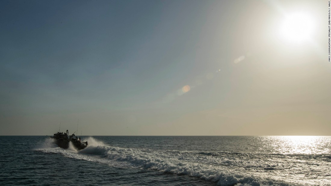 Riverine Command Boat 802 conducts patrol operations in the Gulf on October 25.