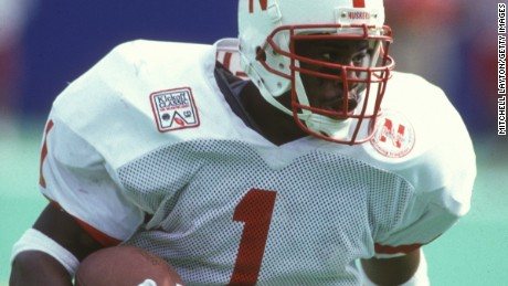 EAST RUTHERFORD, NJ - AUGUST 31:  Lawrence Phillips #1 of the Nebraska Cornhuskers runs with the ball during a college football game against the West Virginia Mountaineers on August 31, 1994 at Giants Stadium in East Rutherford, New Jersey.  (Photo by Mitchell Layton/Getty Images)
