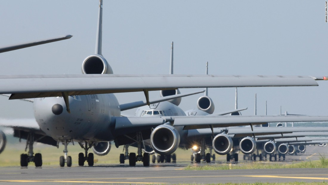 Based on the DC-10 passenger jet, the triple-engine KC-10 is a gas station in the sky with the ability to carry 75 people and 170,000 pounds of cargo. In its six tanks, the KC-10 can carry up to 356,000 pounds of fuel and dispense it while airborne. The Air Force has 59 KC-10s on active duty.