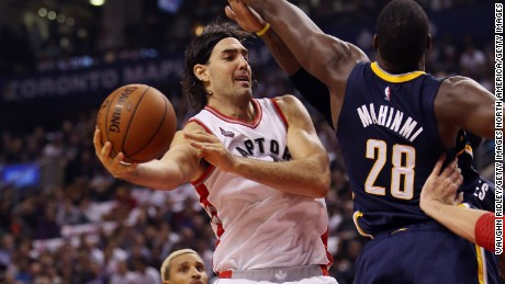 TORONTO, ON - OCTOBER 28:  Luis Scola #4 of the Toronto Raptors is blocked by Ian Mahinmi #28 of the Indiana Pacers during the NBA season opener at Air Canada Centre on October 28, 2015 in Toronto, Ontario, Canada.  NOTE TO USER: User expressly acknowledges and agrees that, by downloading and or using this photograph, User is consenting to the terms and conditions of the Getty Images License Agreement.  (Photo by Vaughn Ridley/Getty Images)