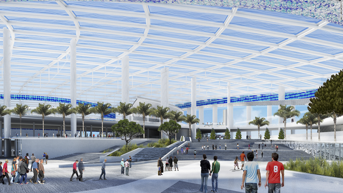 The stadium will be covered by a 19-acre transparent ETFE plastic canopy.