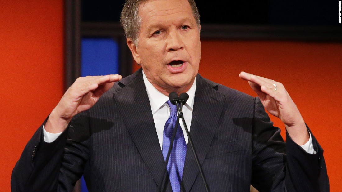 """Kasich touted his economic record as governor of Ohio. """"Our wages are growing faster than the national average,"""" he said. """"We're running surpluses. And we can take that message and that formula to Washington to lift every single American to a better life."""""""