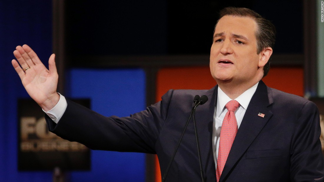 "Cruz speaks during the debate. The senator from Texas opened the event by talking about the U.S. sailors recently detained by Iran. ""Today,"" he said, ""many of us picked up our newspapers, and we were horrified to see the sight of 10 American sailors on their knees, with their hands on their heads. ... I give you my word, if I am elected president, no service man or service woman will be forced to be on their knees, and any nation that captures our fighting men will feel the full force and fury of the United States of America."""