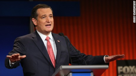 Ted Cruz participates in the Fox Business Network Republican presidential debate at the North Charleston Coliseum and Performing Arts Center on January 14, 2016, in North Charleston, South Carolina.