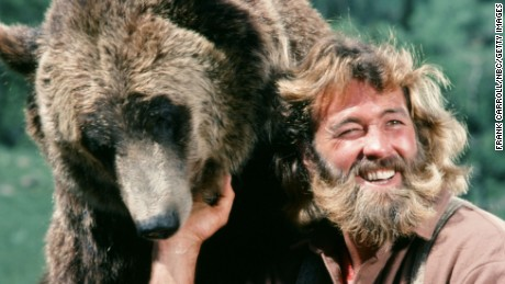 "THE LIFE AND TIMES OF GRIZZYLY ADAMS -- ""A Bear's Life"" Episode 3 -- Pictured: (l-r) Bozo the Bear as Ben, Dan Haggerty as James 'Grizzly' Adams -- (Photo by: Frank Carroll/NBC/NBCU Photo Bank)"