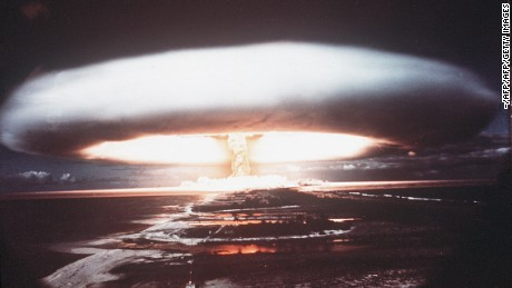 (FILES) A picture taken in 1971 shows a nuclear explosion in Mururoa atoll. France said on March 24, 2009 it will compensate 150,000 victims of nuclear testing carried out in the 1960s in French Polynesia and Algeria, after decades of denying its responsibility. An initial sum of 10 million euros (14 million dollars) has been set aside for military and civilian staff as well as local populations who fell ill from radiation exposure, Defence Minister Herve Morin told Le Figaro newspaper. AFP PHOTO FILES / STRINGER (Photo credit should read -/AFP/Getty Images)