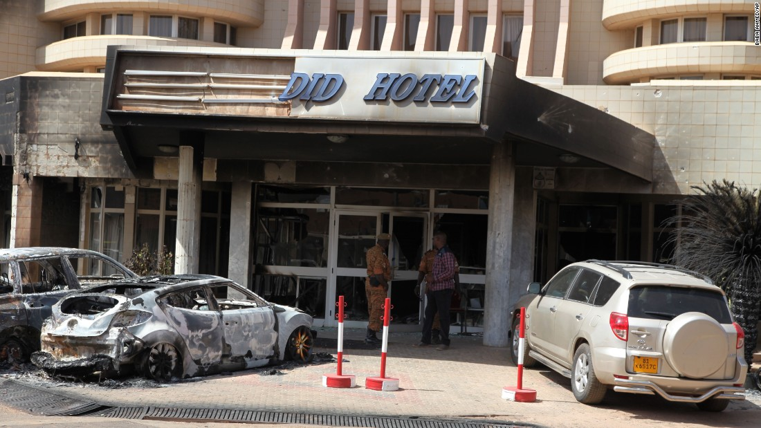 The outside of the Splendid Hotel in Ouagadougou is seen after the siege ended. Security forces launched an assault against gunmen, state broadcaster RTB said early Saturday.