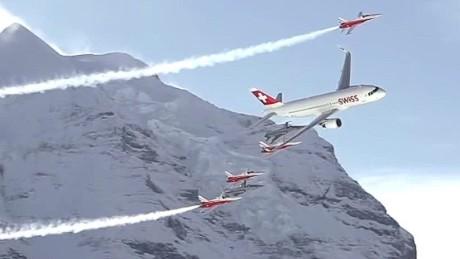 Spectacular air show in the Swiss Alps