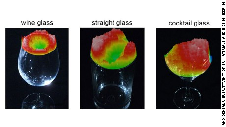 As wine warms up, molecules move up. The red color, captured by the sniff-cam, shows high intensities of ethanol vaporizing in different glasses containing wine served at 13 degrees Celsius.