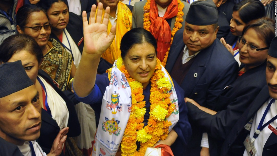 Bidhya Devi Bhandari, 54, is the second and current President of Nepal. Nepal's parliament elected Bhandari to become the country's first female president in October 2015.