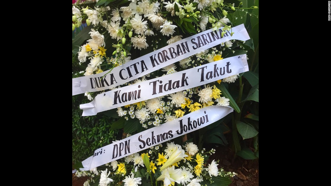 "INDONESIA: ""In Jakarta covering the latest terror attack. This wreath left by local people, Kami Tidak Takut means 'we are not afraid'. Everyone here is quite horrified that this attack happened. Indonesia is typically a really laid back place and Indonesian people are said to be the happiest people in the world."" - CNN's Brad Olson <a href=""http://instagram.com/cnnbrad"" target=""_blank"">@cnnbrad</a>, January 15."