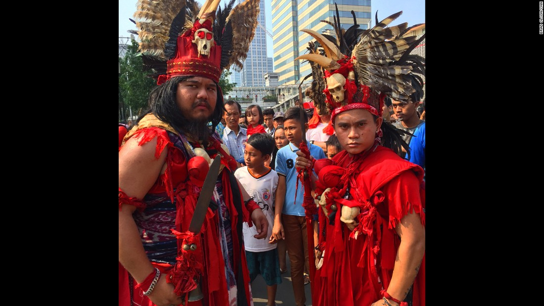 "INDONESIA: Dayak warriors in central Jakarta. A few days after the attack the streets are teeming with happy carefree people enjoying ""Car Free Day"" which happens every week. Even ISIS terrorists can't stop Indonesians from celebrating these hours of freedom from traffic jams and pollution. Photo by CNN's Brad Olson <a href=""http://instagram.com/cnnbrad"" target=""_blank"">@cnnbrad</a>, January 17."