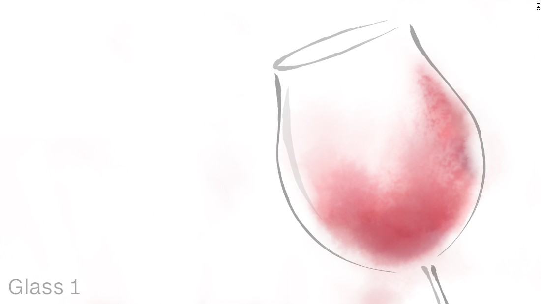 The first wine presented in the class is a Pinot Noir -- a red wine grape variety made from thin-skin grapes and known for its berry aromas. When it is poured into glass one, Georg Riedel points out that this particular glass brings out the fruitier and spicier notes of the wine.