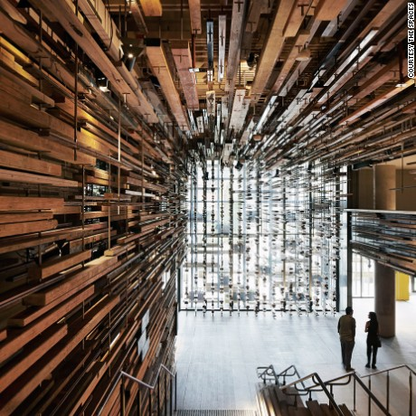 The sculptural timber lobby at Hotel Hotel -- winner of World Interior of the Year -- in Canberra, designed by March Studio