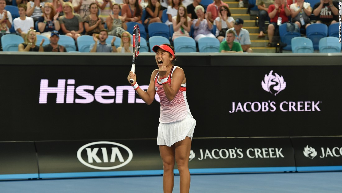 Zhang, who won out 6-4 6-3, was reduced to tears after winning her first ever match at a grand slam at the 15th attempt.