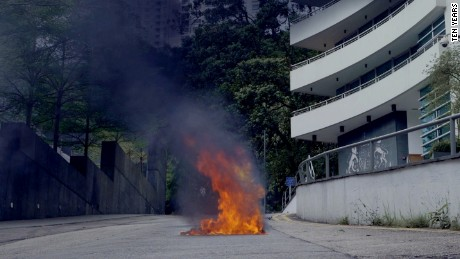 A still from 'Self Immolator', in which a Hong Konger sets themselves on fire in protest.