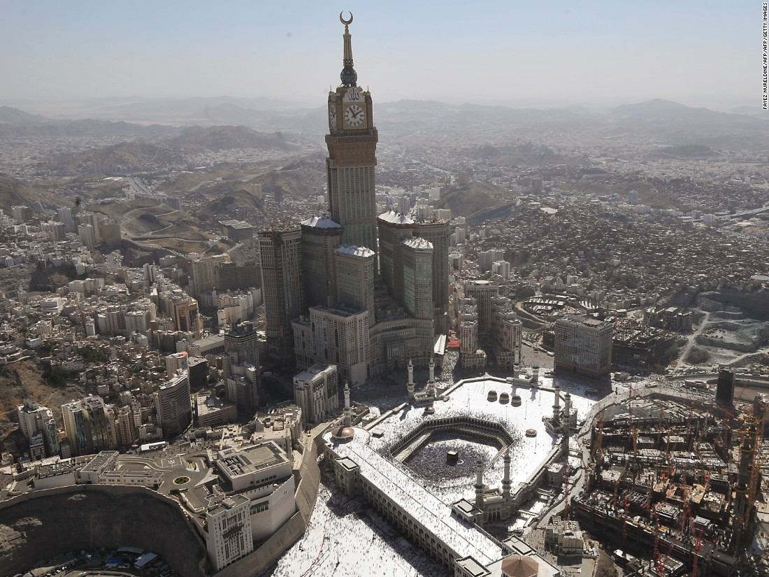 "Situated close to the Grand Mosque of the holy city of Mecca, the tower complex is one part of the <a href=""http://travel.cnn.com/modern-architectural-wonders-middle-east-750096/"">$15 billion King Abdulaziz Endowment Project</a>, seeking to modernize Mecca and accommodate the ever-growing number of pilgrims.<br /><br /><strong>Height: </strong>601m (1972ft)<strong><br />Floors: </strong>120<br /><strong>Architect: </strong>Dar Al-Handasah Architects<br />"