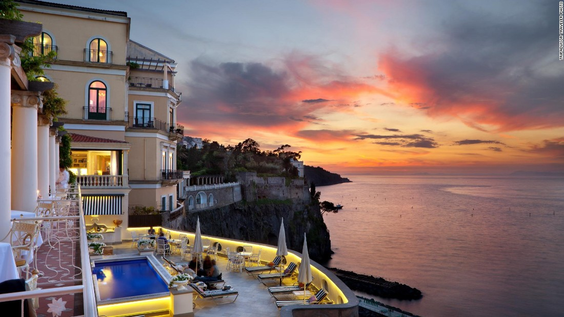 The five-star Bellevue Syrene in Sorrento, Italy, is No. 3 on the global list. The hotel's terraces overlook the scenic Gulf of Naples.