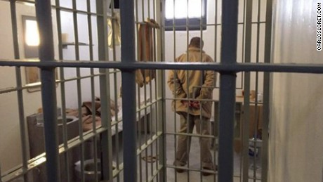 Guzman standing in his cell at the Altiplano prison in Mexico. He has since been transferred to another prison near the Mexico-U.S. border.