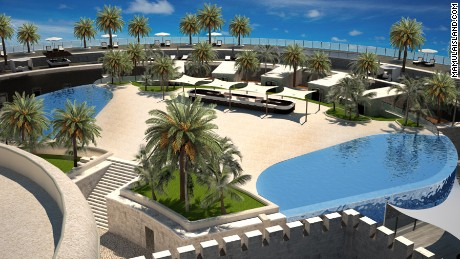 Swimming pools and palm trees: A visualization of the luxury resort that will be built on Mamula Island. Source: mamulaisland.com