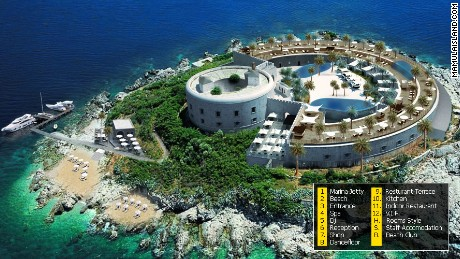 A visualization simulating an aerial view of the luxury resort that will be built on Mamula Island