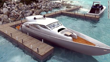 Visualization of the yacht marina. Source: mamulaisland.com