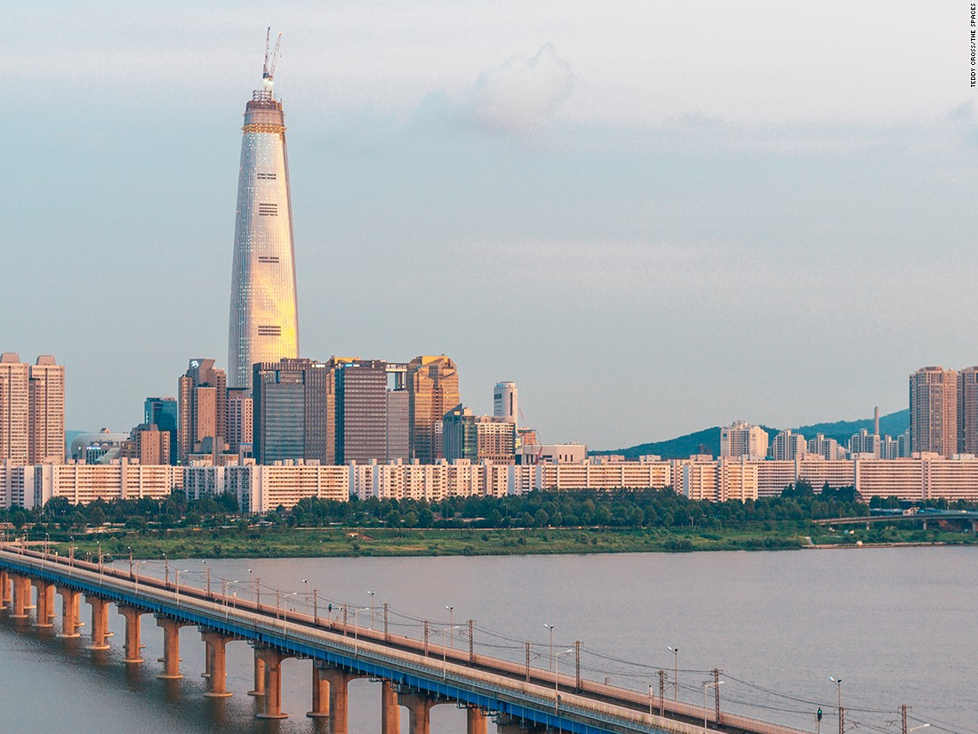 "Completed in March 2016, the Lotte World Tower is Seoul's first supertall skyscraper, and currently the sixth tallest building in the world. At 556 meters (1,824 feet) tall, the building was designed by <a href=""http://www.kpf.com/about/profile"" target=""_blank"">Kohn Pedersen Fox Associates</a>."