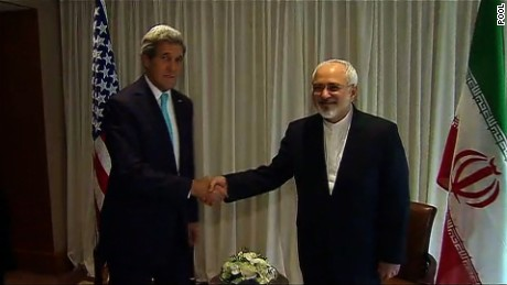 ####2015-01-14 00:00:00 Shot 01/14/2015.## NS Slug: GENEVA: KERRY AND IRANIAN FM DISCUSS NUKE PROGRAM PROGRESS  Synopsis: U.S. Secretary of State John Kerry met Iranian Foreign Minister to discuss possible progress on Iran's disputed nuclear program.    Video Shows: - Zarif and Kerry shake hands and sit        Keywords: GENEVA KERRY ZARIF TALKS NUCLEAR    ##