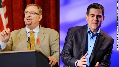 Rick Warren, left, and  Russell Moore represent the institutional evangelicals.