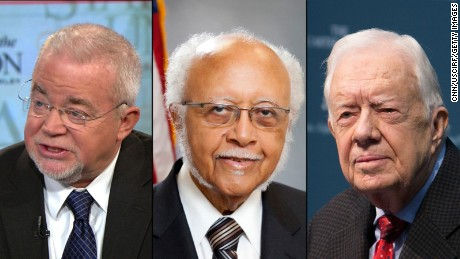 Jim Wallis, William J. Shaw and Jimmy Carter represent the liberal evangelicals.