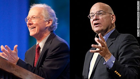 "John Piper, left, and  Timothy Keller represent the ""arm's length"" evangelicals."