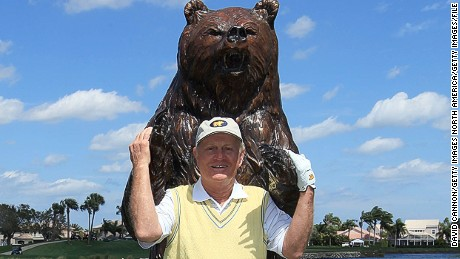 PALM BEACH GARDENS, FL - MARCH 15: Jack Nicklaus poses with the bear on the 15th tee that signifies the final four holes known as the 'Bear Trap' on the Champion Course during the Els for Autism Pro-Am on the Champions Course at the PGA National Golf Club on March 15, 2010 in Palm Beach Gardens, Florida.  (Photo by David Cannon/Getty Images)