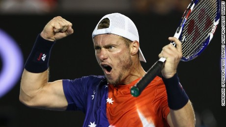 The trademark fist pump was seen more than once, but Hewitt was ultimately unable to overcome his opponent, losing in straight sets.
