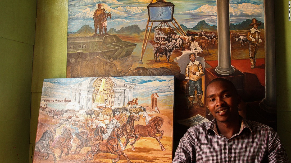 Tyawa treats guests to hearty township recipes fused with contemporary fine dining flair and presentation. Tyawa's brother Anathi's artworks adorn the shack walls.