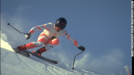 16 FEB 1984:  BILL JOHNSON OF THE UNITED STATES IN ACTION DURING THE MENS DOWNHILL COMPETITION AT THE 1984 WINTER OLYMPICS HELD IN SARAJEVO. JOHNSON WON THE GOLD MEDAL WITH A TIME OF 1:45.59 MINUTES.