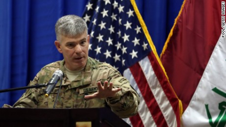 Col. Steve Warren, the new spokesman for the US-led coalition in Iraq, speaks during an introduction of Let. Gen. Sean MacFarland s the new commander General of the US led coalition in Iraq on October 1, 2015 in Baghdad, Iraq.
