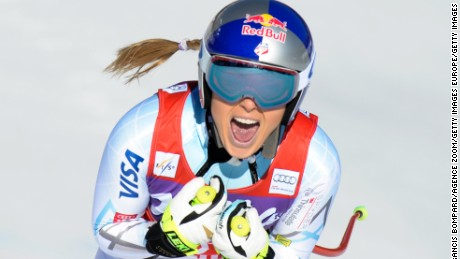 Lindsey Vonn of the USA celebrates during the Audi FIS Alpine Ski World Cup Women's Downhill on January 23, 2016 in Cortina dÕAmpezzo, Italy.