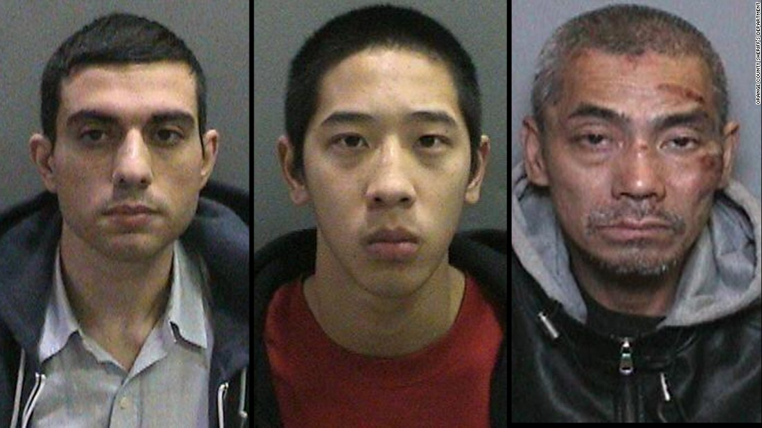 Hossein Nayeri (from left), Jonathan Tieu and Bac Tien Duong escaped from the Orange County Men's Jail on Friday after cutting through a metal screen and using an improvised rope to rappel from the jail's roof.
