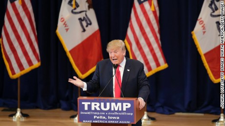 PELLA, IA - JANUARY 23: Republican presidential candidate Donald Trump speaks during a campaign event January 23, 2016 in Pella, Iowa. Trump, who is seeking the nomination from the Republican Party is on the presidential campaign trail across Iowa ahead of the Iowa Caucus taking place February 1. (Photo by Joshua Lott/Getty Images)