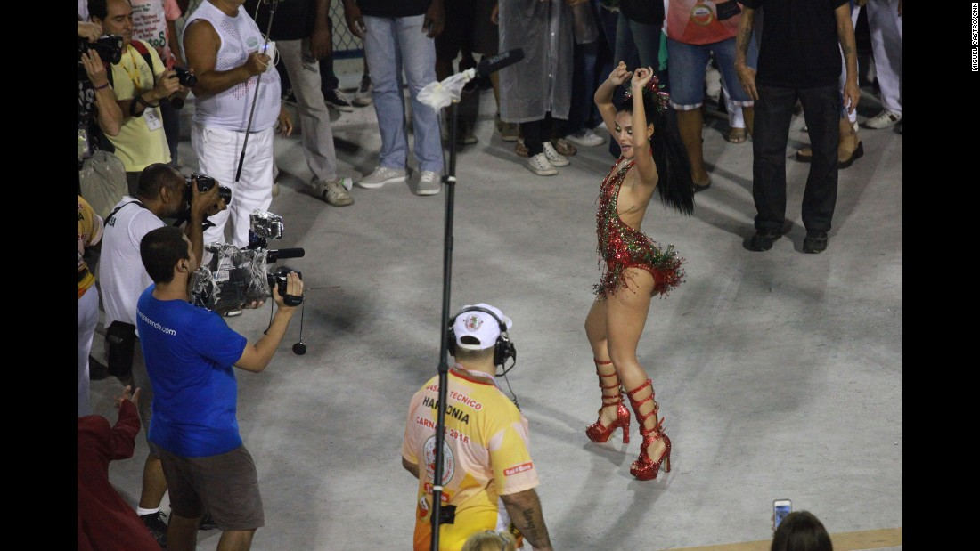 "BRAZIL: ""Actress <a href=""http://instagram.com/palomabernardi"" target=""_blank"">@palomabernardi</a>, 'Drum Queen' of samba school Granderio, displays her moves at the Sambodromo during parade practice."" - CNN's Miguel Castro <a href=""http://instagram.com/sambassando"" target=""_blank"">@sambassando</a>."