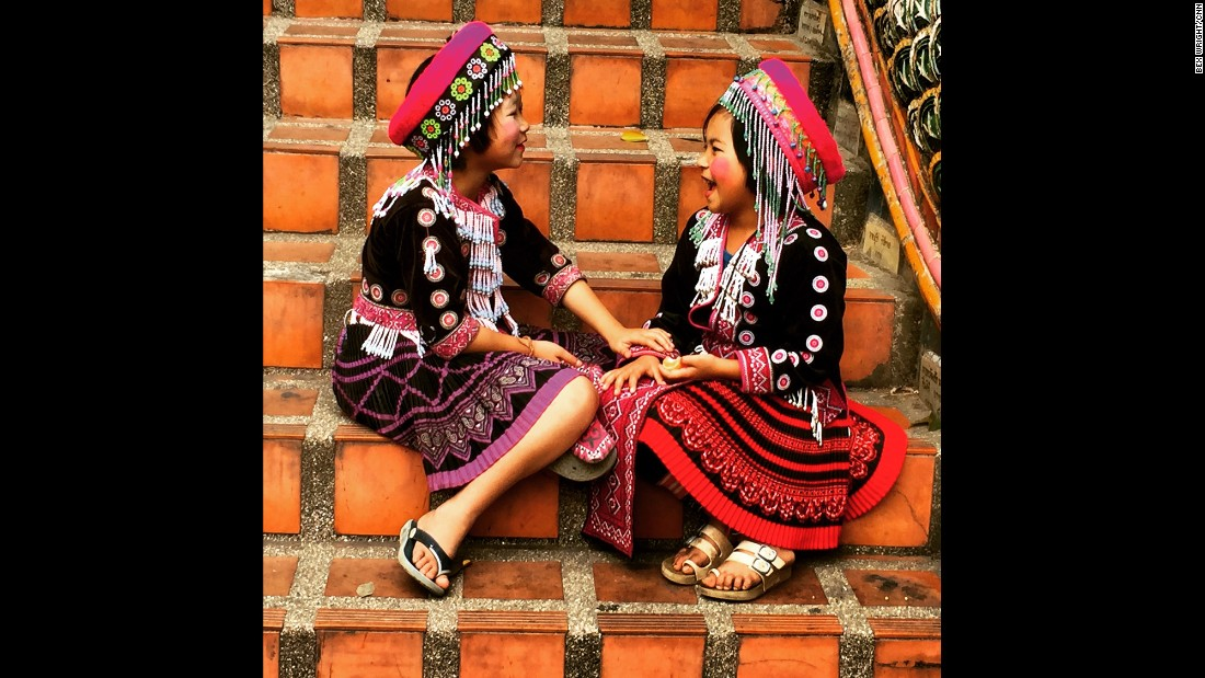 "THAILAND: Girls wearing the traditional clothing of the Hmong Tribe, one of the six major tribes in Thailand. Photo by CNN's Bex Wright <a href=""http://instagram.com/bextables"" target=""_blank"">@bextables</a>."