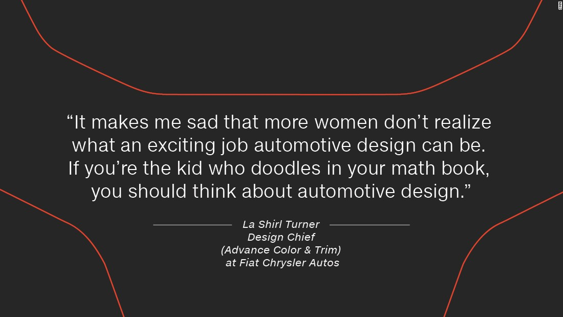 """""""It makes me sad that more women don't realize what an exciting job automotive design can be. I go into local high schools and speak to the kids, especially targeting the girls, and tell them they don't have to just think about fashion or product design. If you're the kid who doodles in your math book, you should think about automotive design,"""" she says."""