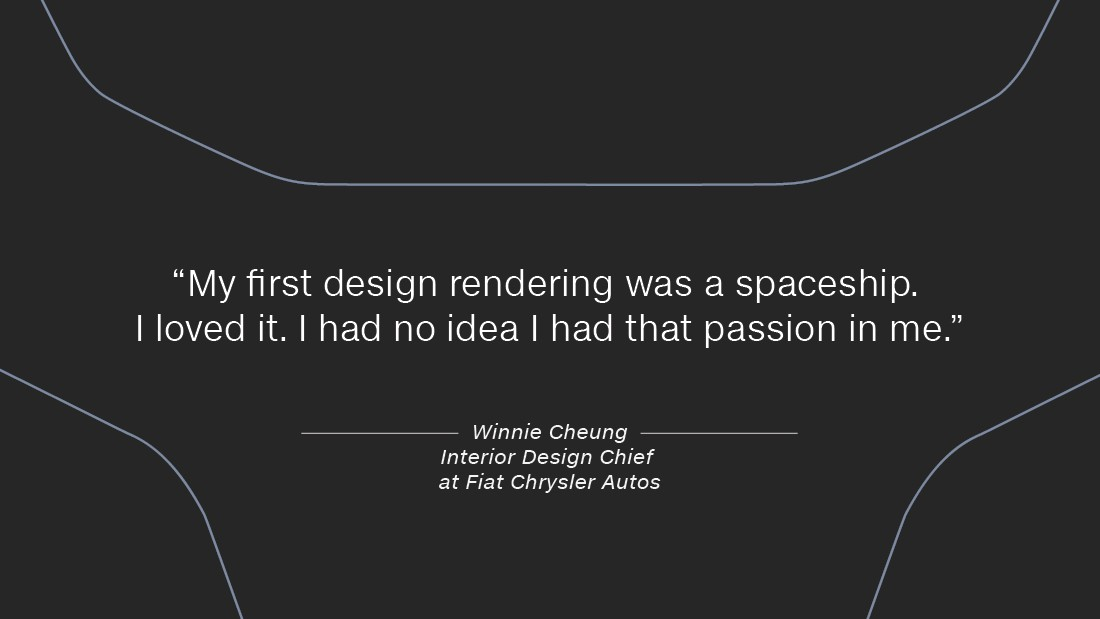 """Cheung was a graphic design and fine arts student at the Art Center College of Design, in California, when the chance came up to take transportation classes. """"I was so nervous, I wanted to vomit,"""" she recalls, """"my first design rendering was a spaceship -- I loved it -- I had no that idea I had that passion in me."""""""