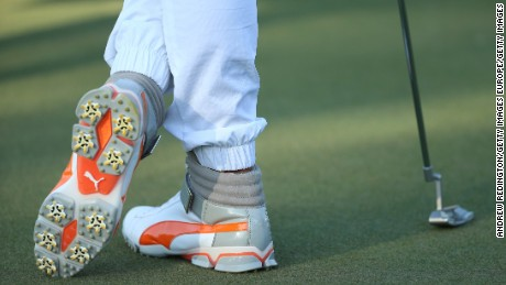 ABU DHABI, UNITED ARAB EMIRATES - JANUARY 24:  The shoes worn by Rickie Fowler of the United States are pictured during round four of the Abu Dhabi HSBC Golf Championship at the Abu Dhabi Golf Club on January 24, 2016 in Abu Dhabi, United Arab Emirates.  (Photo by Andrew Redington/Getty Images)